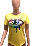 Camisa regular de lágrimas con estampado amarillo informal de verano