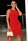 Mini vestido casual de verano con cordones fruncidos sin mangas rojo
