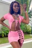 Summer Sexy Pink Crop Top y minifalda con cordones
