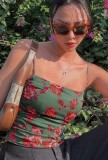 Top corto con tirantes florales sexy de verano