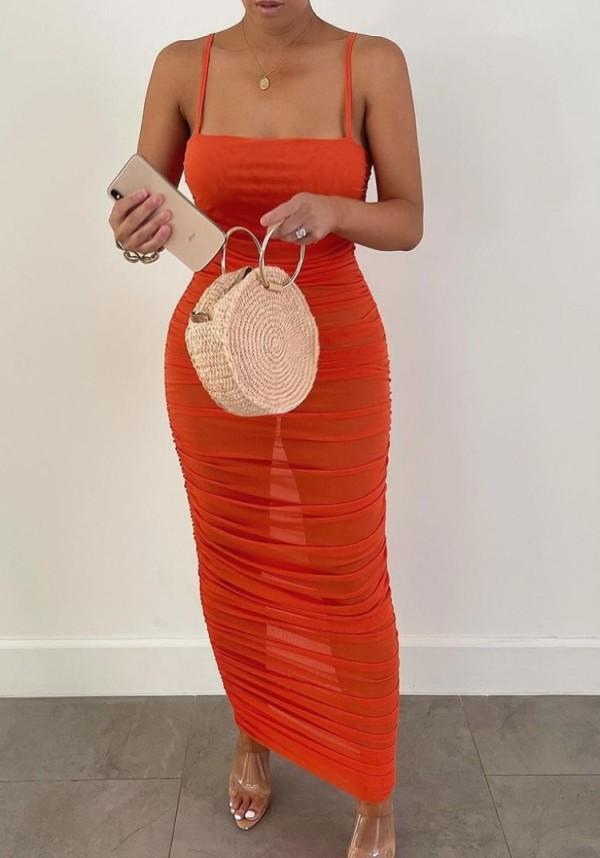 Sommer Sexy Orange Langes Partykleid mit Rüschen