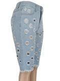Pantalones cortos de mezclilla azul claro de cintura alta ahuecados de verano