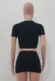 Summer Sexy Crop Top negro y minifalda con cordones