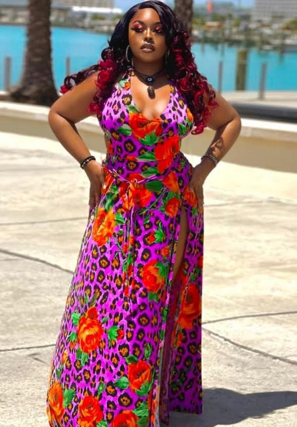 Vestido largo largo sin mangas con abertura floral y tallas grandes de verano