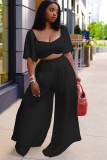 Summer Plus Size Black Crop Top y pantalones anchos Conjunto a juego de 2 piezas