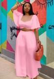 Summer Plus Size Pink Crop Top y pantalones anchos Conjunto a juego de 2 piezas