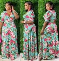 Yaz Büyük Beden Çiçekli Kısa Kol Şallı Uzun Maxi Elbise