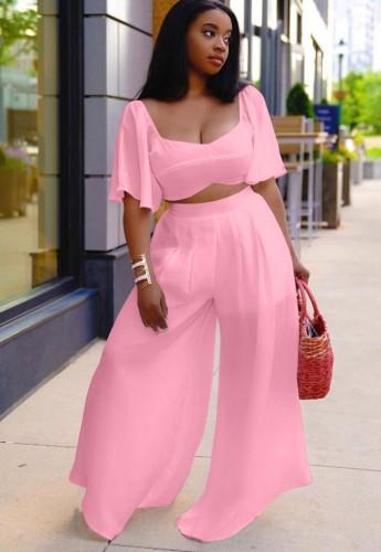 Ensemble 2 pièces assorti d'un haut court rose et d'un pantalon large d'été grande taille