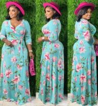 Vestido largo largo cruzado con manga 3/4 floral de verano de talla grande