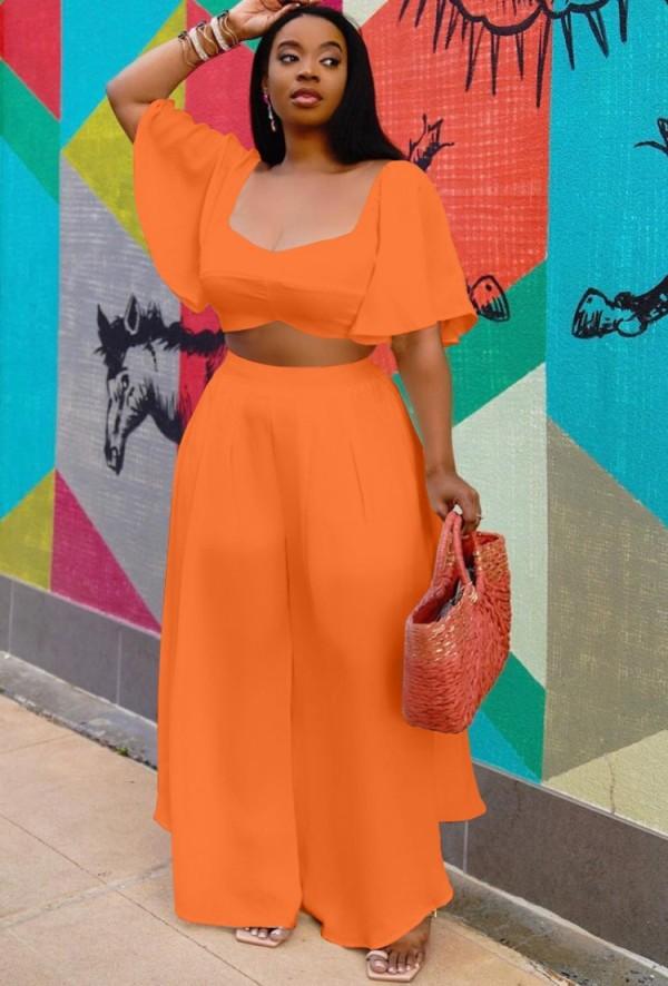 Sommer Plus Size Orange Crop Top und weite Hose 2-teiliges passendes Set