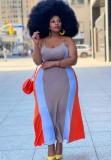 Sommer Plus Size Multicolor Stripe Strap Langes Kleid