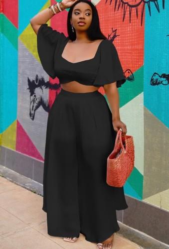 Top court noir taille plus et pantalon large d'été ensemble assorti 2 pièces
