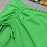 Summer Sexy Green Crop Top y minifalda Conjunto de 2 piezas