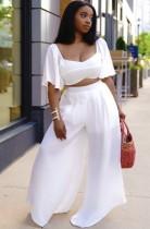 Sommer Plus Size Weißes Crop Top und weite Hose 2-teiliges passendes Set