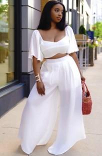 Summer Plus Size Crop Top blanco y pantalones anchos Conjunto a juego de 2 piezas
