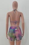 Sommer Multicolor Sexy Netzstrümpfe 3-teiliges Bikini-Set