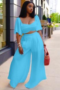 Summer Plus Size Azul claro Crop Top y pantalones anchos Conjunto a juego de 2 piezas