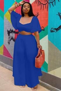 Summer Plus Size Azul oscuro Crop Top y pantalones anchos Conjunto a juego de 2 piezas