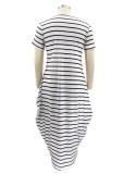 Sommer Casual Plus Size Streifen Kurze Ärmel Langes Kleid