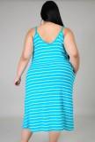 Zomer casual plus size strepen riem lange jurk