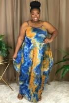 Yaz Günlük Büyük Beden Batik Askılı Gevşek Uzun Elbise