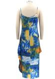 Sommer Casual Plus Size Tie Dye Strap Loses Langes Kleid