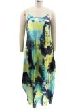 Summer Casual Plus Size Tie Dye Strap Loose Long Dress
