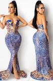Sommer Formales Print trägerloses Lace-Up Front Schlitz Langes Abendkleid