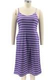 Summer Casual Plus Size Stripes Strap Long Dress