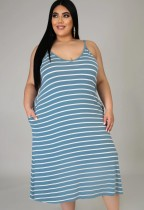 Sommer Casual Plus Size Stripes Strap Langes Kleid