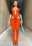 Zomer oranje sexy uitgesneden top en bijpassende broek 2-delige set