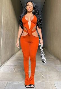 Conjunto de 2 peças Summer Orange Sexy Cut Out Top e Calças Combinando