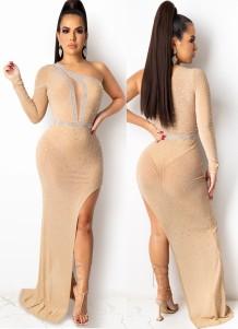 夏のフォーマル ベージュ ビーズ ワン ショルダー イブニング ドレス イブニング ドレス