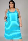 Vestido longo de verão casual plus size com listras com alças