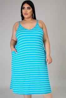 Vestido largo informal con tirantes de rayas de tamaño extra grande de verano