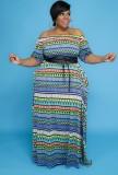 Vestido largo largo ondulado con hombros descubiertos y talla grande de verano