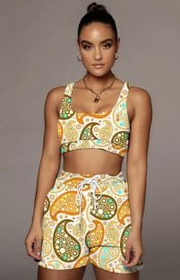 Conjunto de combinação de sutiã e shorts com estampa casual de verão de 2 peças