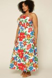 Vestido largo de verano con correa ancha y floral informal de talla grande