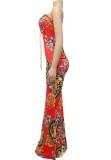 Summer Formal Print Strapless Lace-Up Front Slit Long Evening Dress