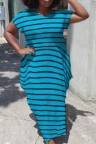 Yaz Günlük Büyük Beden Çizgili Kısa Kollu Uzun Elbise