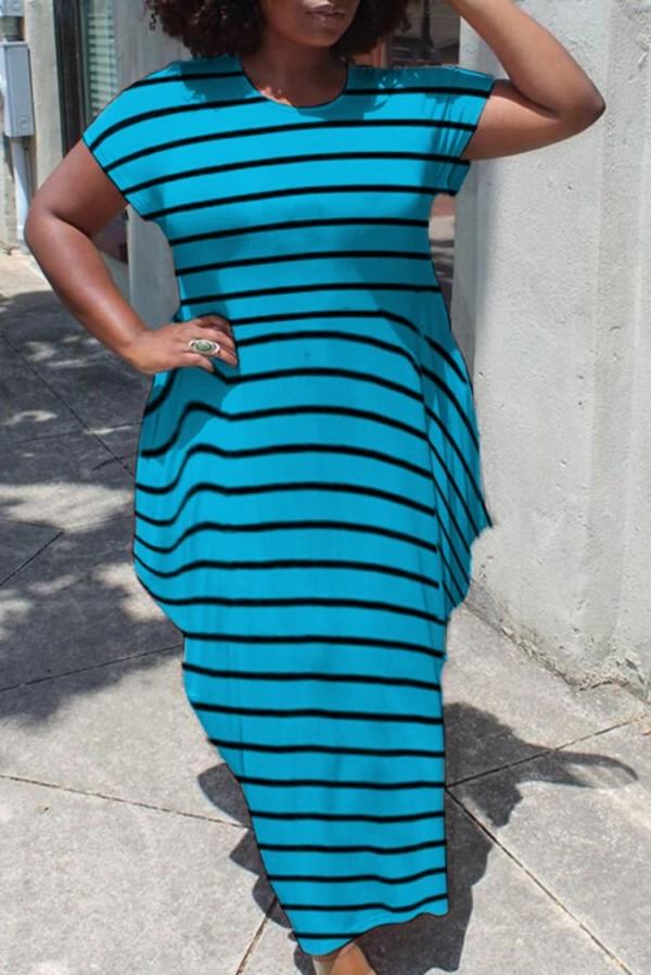 Zomer Casual Grote maten strepen Korte mouwen Lange jurk