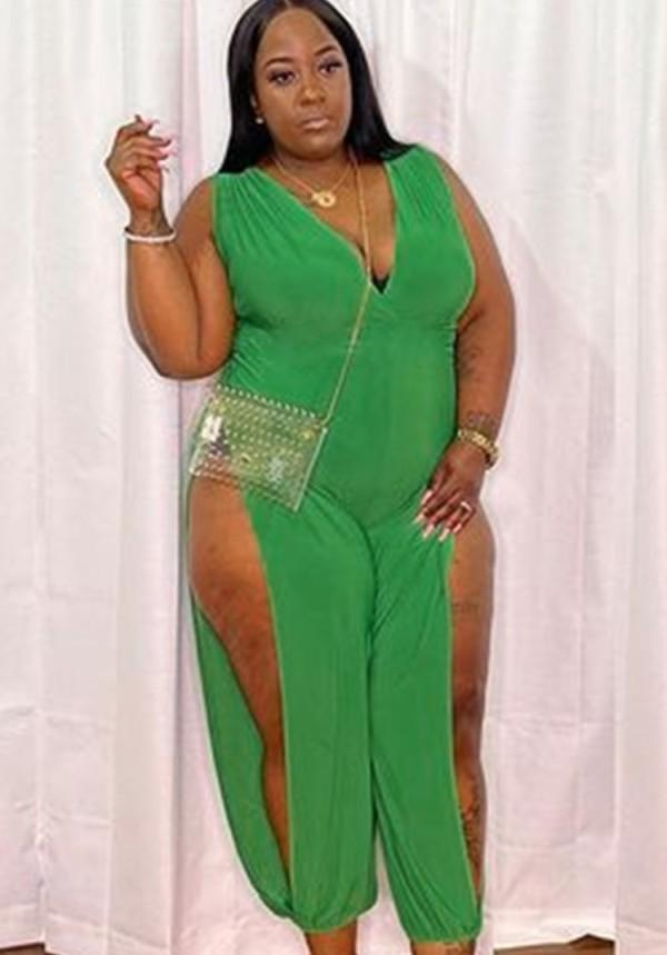 Zomer plus size sexy groene mouwloze jumpsuit met v-hals en split