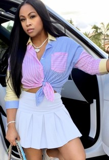 Summer Casual Stripes Long Sleeve Blouse and Pleated Mini Skirt Matching 2PC Set