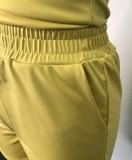 Conjunto de 2 piezas de chaleco amarillo informal de verano y pantalones cortos con cordones