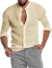 Осенняя мужская повседневная элегантная бежевая блузка с длинным рукавом