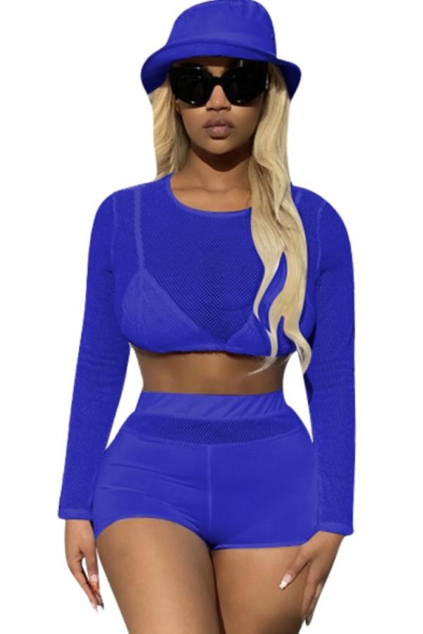 Sommer Blau Sexy Langarm Crop Top und Shorts 2PC Set