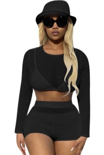 Conjunto 2PC de Top e Shorts de manga comprida sexy preto verão