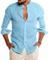 Blusa azul de manga larga elegante casual de otoño para hombre