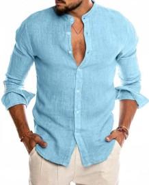 Осенняя мужская повседневная элегантная синяя блузка с длинным рукавом