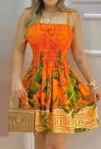 Sommer Casual Floral Orange Strap Skaterkleid